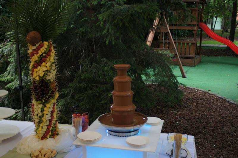 Fontanna czekoladowa w ogrodzie