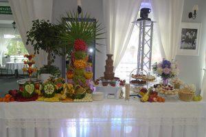 Fontanna alkoholowa i stół owocowy
